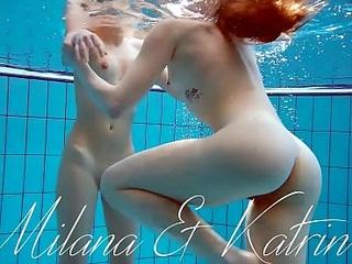 Milana and katrin disrobe eachother underwater
