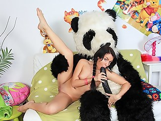 Role-playing with a toy bear with a huge apart from a dick