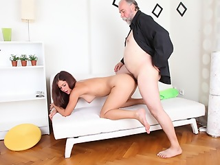 Alyona sits on the lap of her older beggar looking very sexy and attractive. He is much older than her, but he wants to fuck her young pussy and gets to as the crow flies