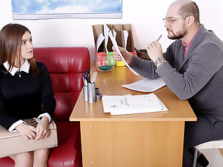 Her options are very simple: either Karolin drops her panties and let's her old teacher have sex her pussy, or she fails the assortment and has to study all summer long. What will she decide?