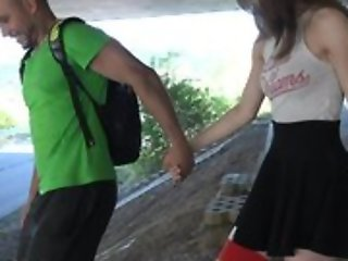 Cute schoolgirl in high-knee socks enjoys fucking in pen up