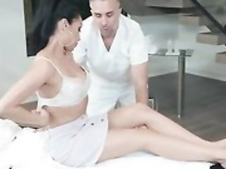 Horny brunette chick seduces and fucks their way masseur