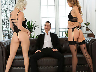 Lingerie tender babes Azazai and Tiffany Tatum operation together to inveigle their lover into a pussy pleasing threesome