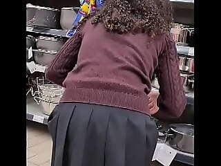 SPYING TEEN GIRL Handy SUPERMARKET - SHORT SKIRT