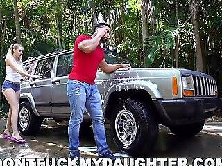 DON'T Roger MY DAUGHTER - Naughty Teen Sierra Nicole Fucks Carwash Man