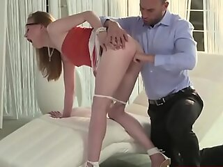 Teen redhead toyed coupled with analed by bigcock