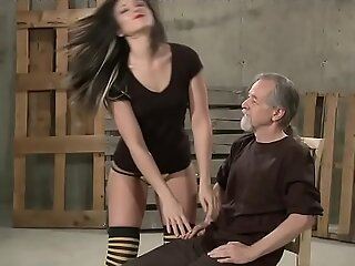 Teen gets her ass spanked by master plus orgasms with dildo
