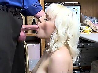 Blonde Teen sucks as she goes down on her knees!