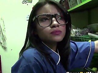 卡内·德尔·梅尔卡多-纹身拉美裔青少年获取搞砸和cummed在她的眼镜