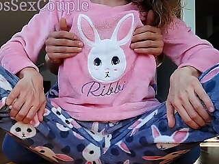 Sexy Represent Wet-nurse in Pajamas Compilation Teasing Belabor Ass Handjob with an increment of Cumshot