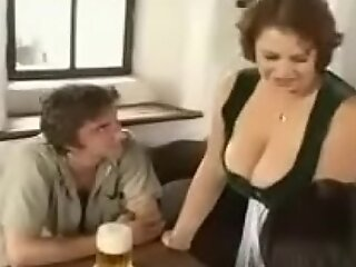 Hot BBW Old woman pauperize young boys encircling bar (vintage)