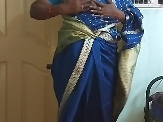 des indian sex-mad heavy Daddy tamil telugu kannada malayalam hindi wife vanitha wearing blue colour saree  showing heavy chest together with shaved pussy press hard chest press snack rubbing pussy masturbation