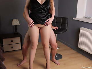 Fucked incomparable legs surrounding seamless pantyhose with an increment of cum in excess of feet