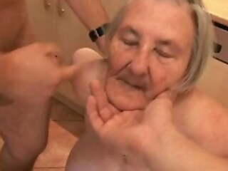 76 years old toothless granny is into the bargain horny for group sex