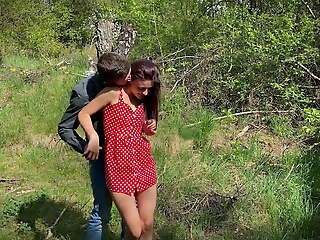 brought his stepsister into the forest and fucked her anus hard