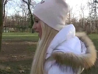 Slutty blonde Czech babe is paid cash from some inane public sex 13