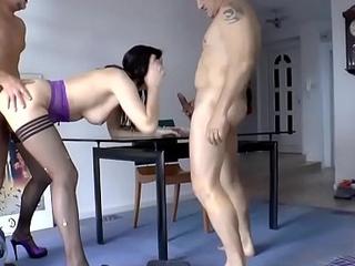 Stocking babe spunked at bottom