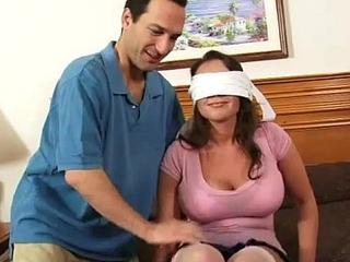 Busty non-professional girlfriend enjoys 4 schlongs with strongest cum loads