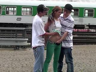 Cute auric legal age teenager alexis lorgnette public border team fuck triad